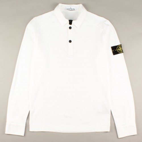 Stone hvid trøje med polo krave