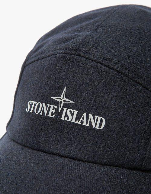 Stone Island cap_navy_wool_logo