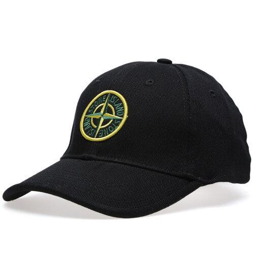 Stone Island cap_sort med farve logo_front